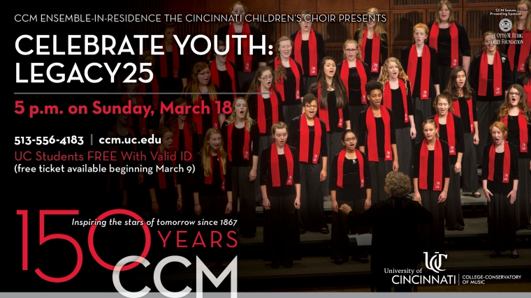 CCM's Ensemble-in-Residence, The Cincinnati Children's Choir, Celebrates Their 25th Anniversary with Concert on March 17