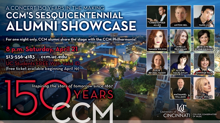 CCM's Sesquicentennial Alumni Showcase is on April 21 in Corbett Auditorium.