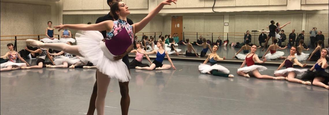 CCM Dance student Emma Webb rehearses for Legends of Dance.