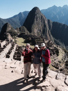 Mary Sue Morrow (left) with two friends after hiking the Inca trail to Machu Picchu in Peru.