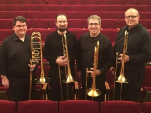 The Elysian Trombone Consort. From left to right, Chad Arnow, Nate Silar, Brett Shuster and Timothy Anderson.