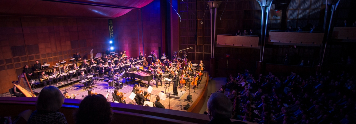 A photo of CCM's newly-renovated Corbett Auditorium, with the CCM Philharmonia performing. Photo by UC Photographic Services.