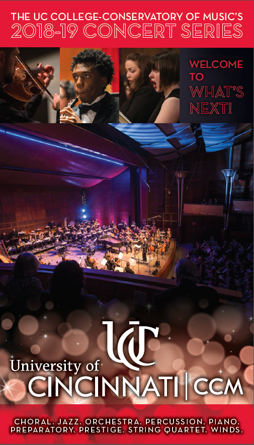 The cover artwork for CCM's 2018-19 Concert Series Brochure, depicting student performers and the newly-renovated Corbett Auditorium.