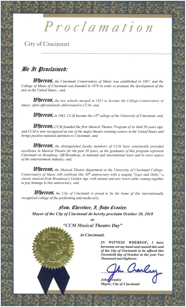 """In an official proclamation, Cincinnati Mayor John Cranley has declared Oct. 20, 2018, as """"CCM Musical Theatre Day"""" in honor of the program's 50th anniversary."""