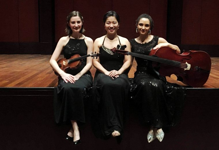 Shannon Lock, violin, Hyeji Park Miranda, piano, and Anita Graef, cello, after their trio recital.