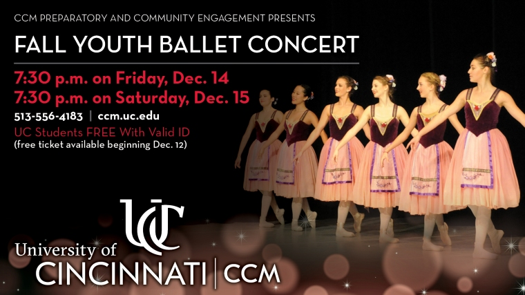 CCM Prep presents its annual Fall Youth Ballet Concert on Dec. 14-15, 2018 at Patricia Corbett Theater.