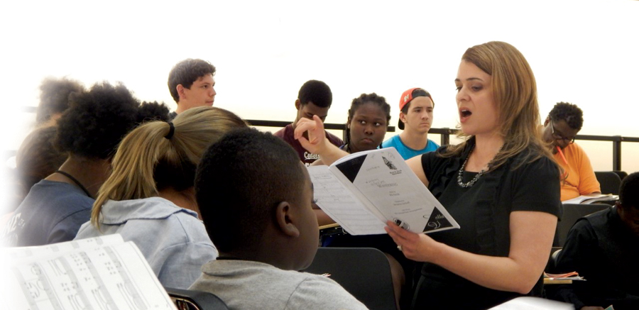 CCM faculty member Eva Floyd instructs a class of young music students.