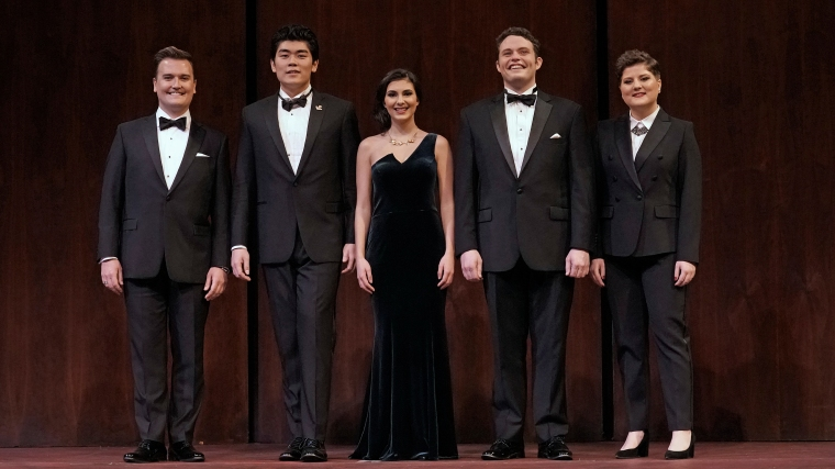 CCM student Elena Villalón (center) with the other winners of the 2019 Metropolitan Opera National Council Auditions. From left to right: Miles Mykkanen, William Guanbo Su, Elena Villalón, Thomas Glass and Michaela Wolz. Photography courtesy of Ken Howard.