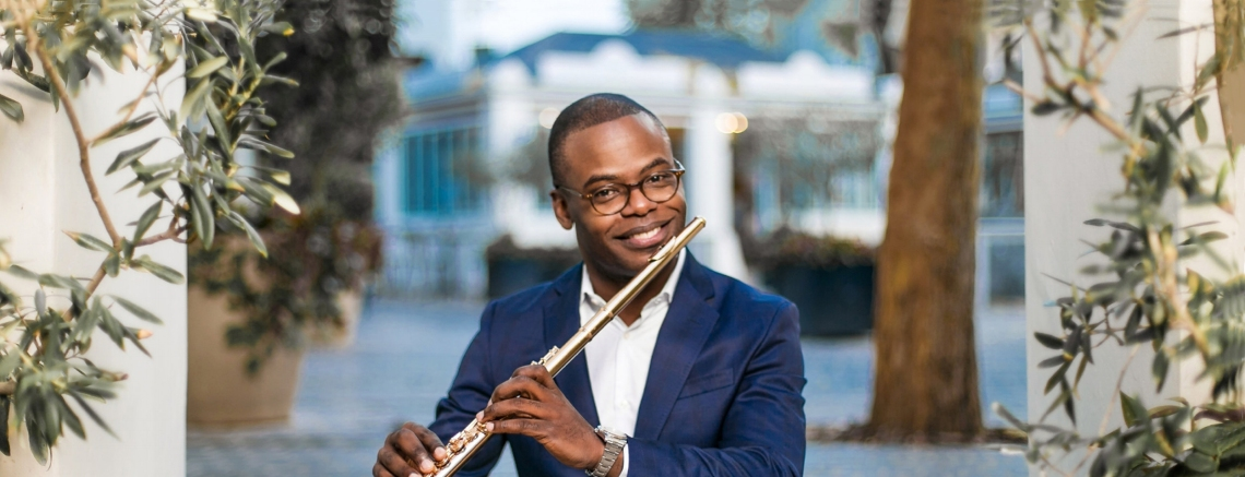 Demarre McGill, CCM's new Associate Professor of Flute. Photography by Denver Rispel.