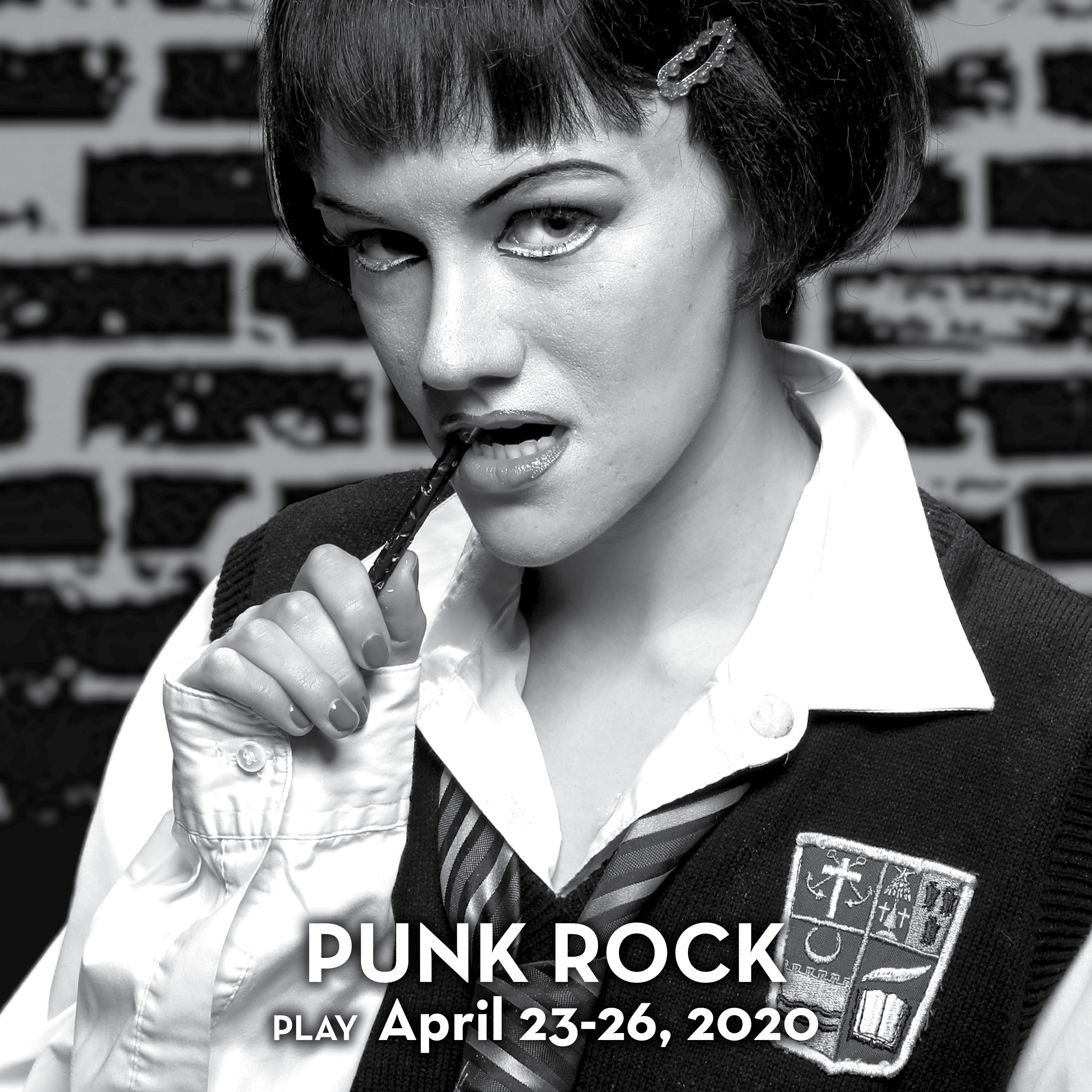 A black and white photo of a young woman wearing a school uniform and Gothic make-up in a promotional image for the play 'Punk Rock.' Photo by Mark Lyons.