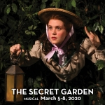 A female explorer emerging from foliage in a promotional image for the musical 'The Secret Garden.' Photo by Mark Lyons.