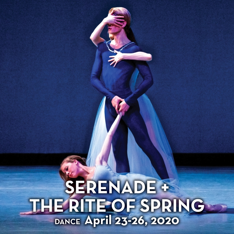 One male and two female ballet dancers strike a dramatic pose in a promotional image for the dance production 'Serenade + The Rite of Spring.' Photo by Will Brenner.