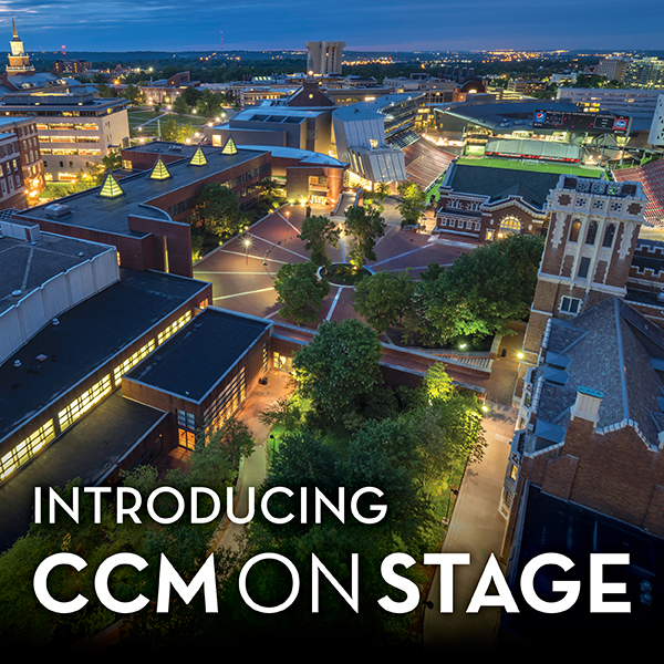 "A photograph of CCM Village superimposed with the text: ""Introducing CCMONSTAGE."""