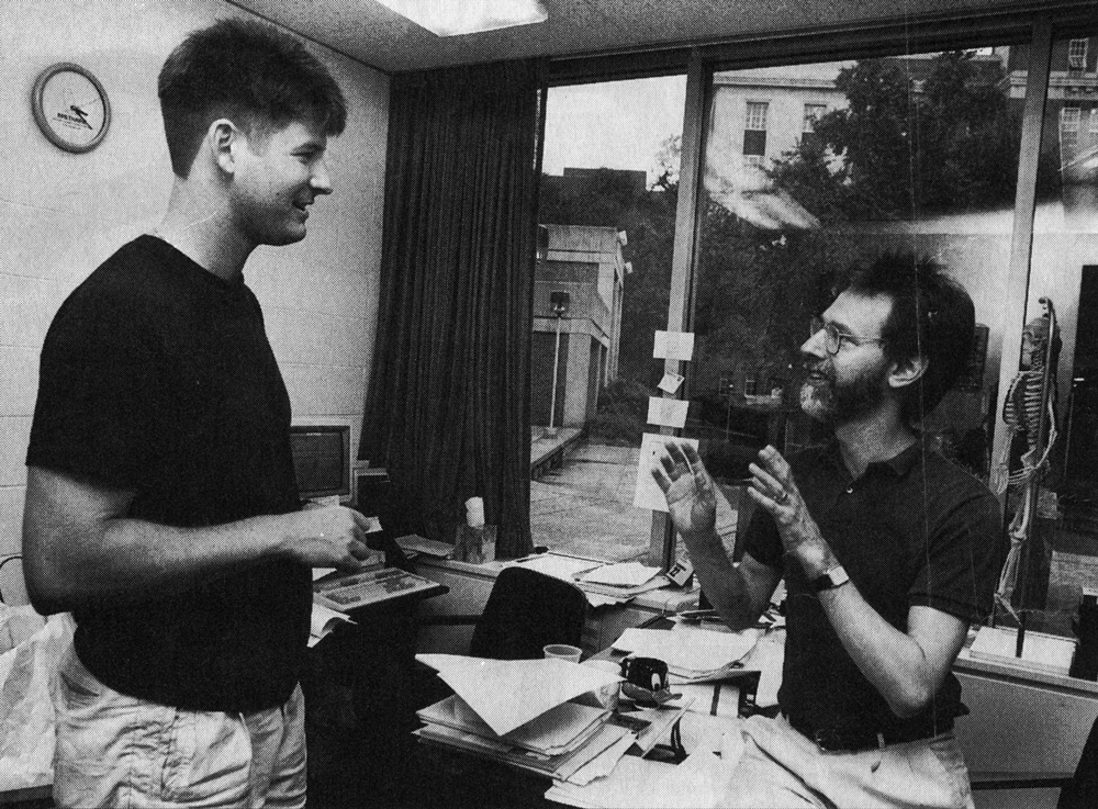 """CCM Professor Emeritus R. Terrell Finney, Jr. (right) with drama student Dennis Whetsel, featured in the July 1992 issue of """"Artscape: Classical WGUC's Monthly Arts Magazine."""""""