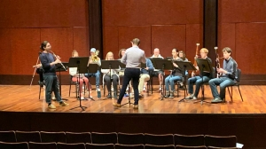 Leo De La Cruz rehearsing with CCM Chamber Winds. Photo/Provided.