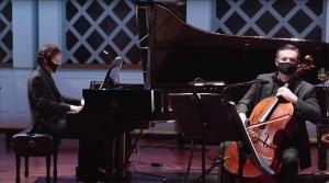 CSO pianist and CCM Professor Michael Chertock with CSO principal cello and CCM Professor Ilya Finkelshteyn.