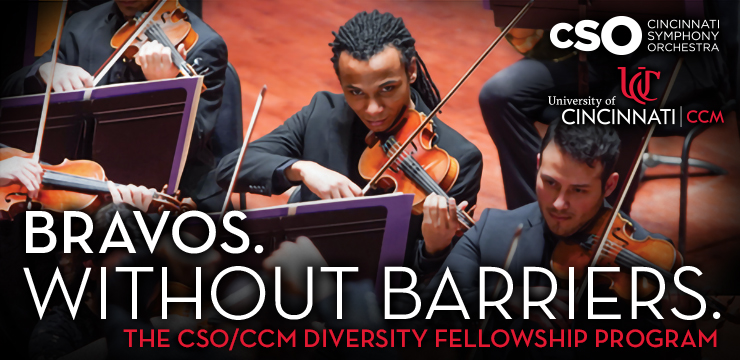 A promotional image for the CSO/CCM Diversity Fellowship program featuring two student participants playing with the CSO under the banner: Bravos Without Barriers.